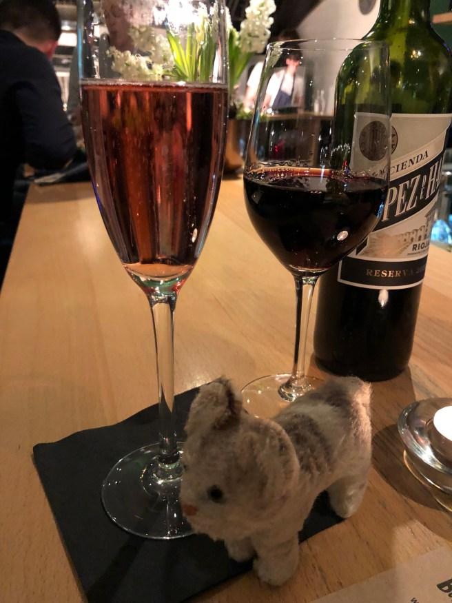 Frankie enjoys a selection of beverages