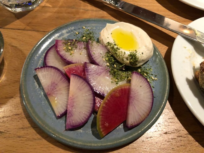 Raw radishes, taramasalata and furikake