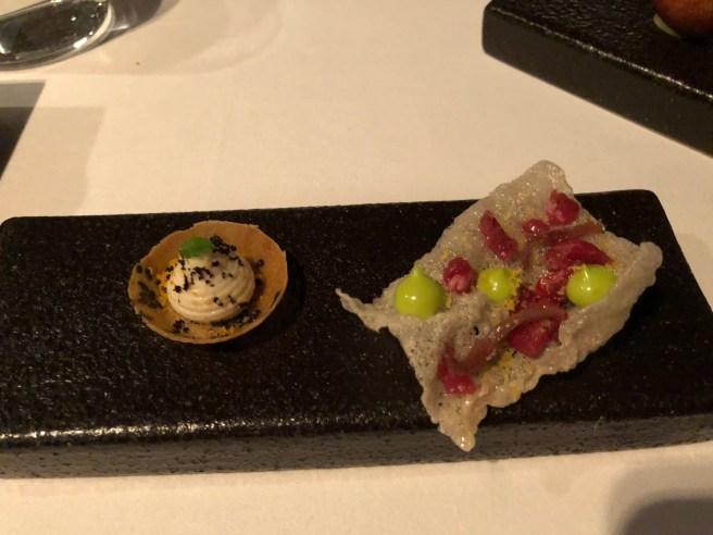 cream and cod tartlet; beef tartar