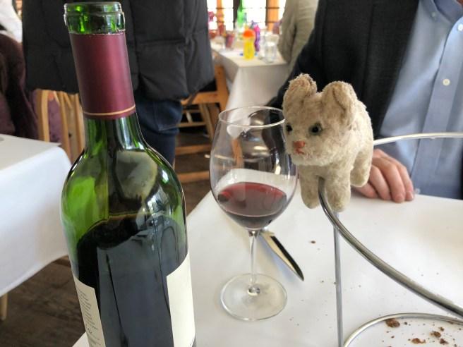 Frankie tried to reach the wine