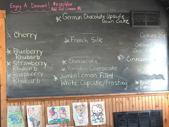 Dessert menu on chalkboard