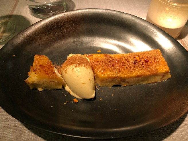"""pan perdido"": baked French toast with vanilla ice cream"