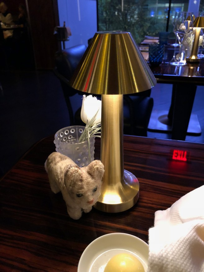 Frankie checked out the little table lamp