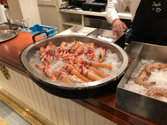 seafood on the counter