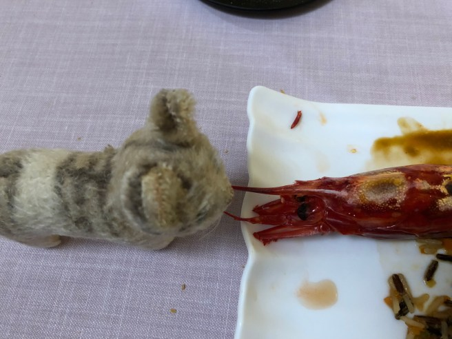 Frankie had a standoff with the prawn