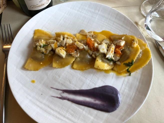 Ravioli with radicchio de Treviso e swardfish