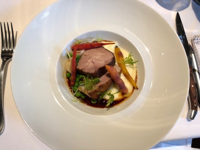 Red Wine Glazed Shoulder Of Pork with Roasted Turniop, English Peas and Smoked Potato Purée