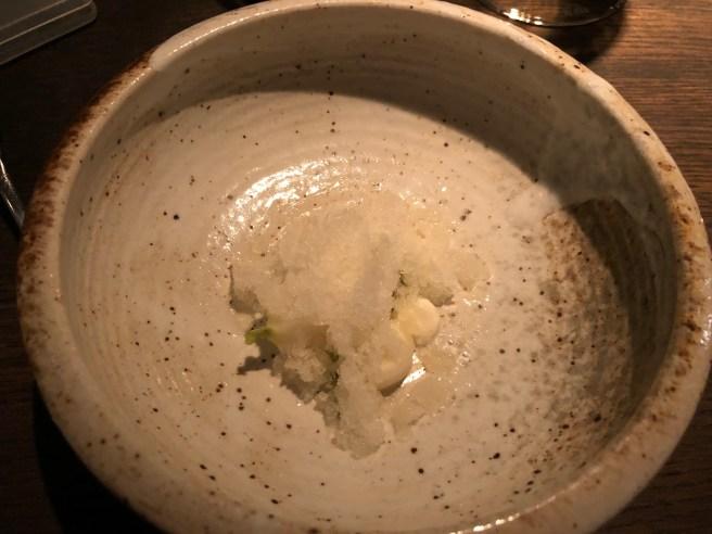 Turnips, ham cream, pear and pine