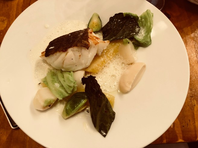 Cod, celery root, Brussels sprouts and lettuce