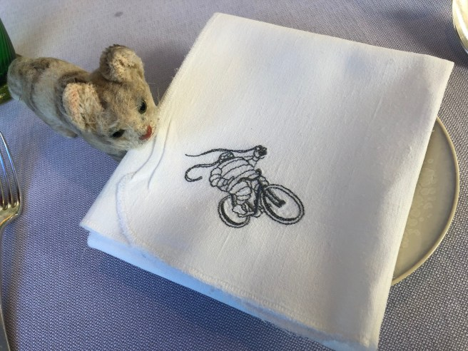 Frankie checked out the dessert napkin logo
