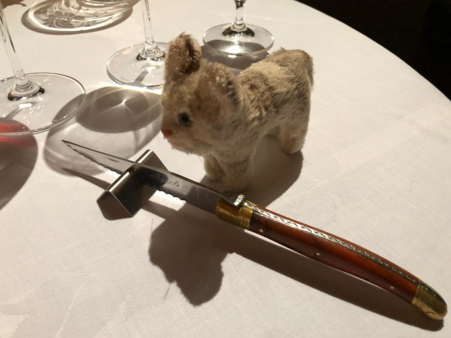 Frankie checked out the knife for the next course