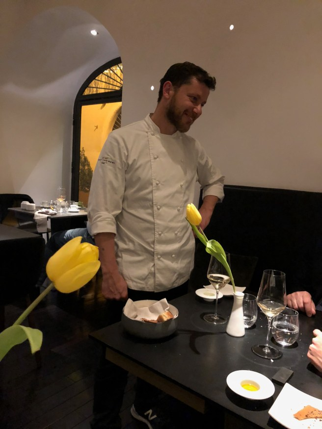 Chef visits with guests