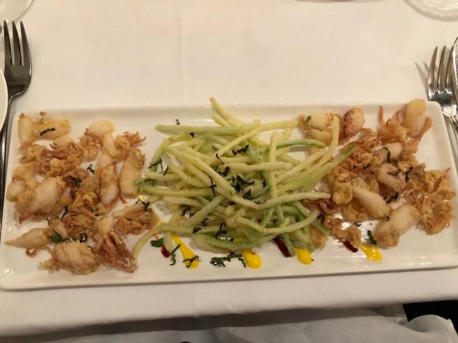 Deep fried baby calamari were served with mint flavored zucchini tempura