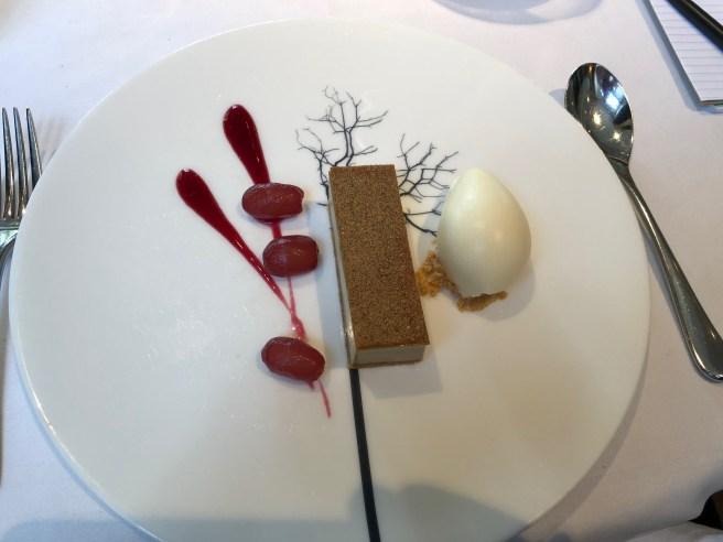 Brown sugar tart with stem ginger ice cream