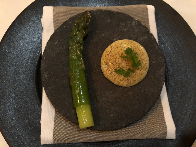 Asparagus, bone marrow , leek ash
