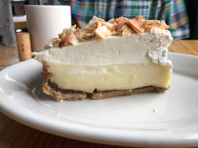 Coconut cream pie, toasted coconut crust