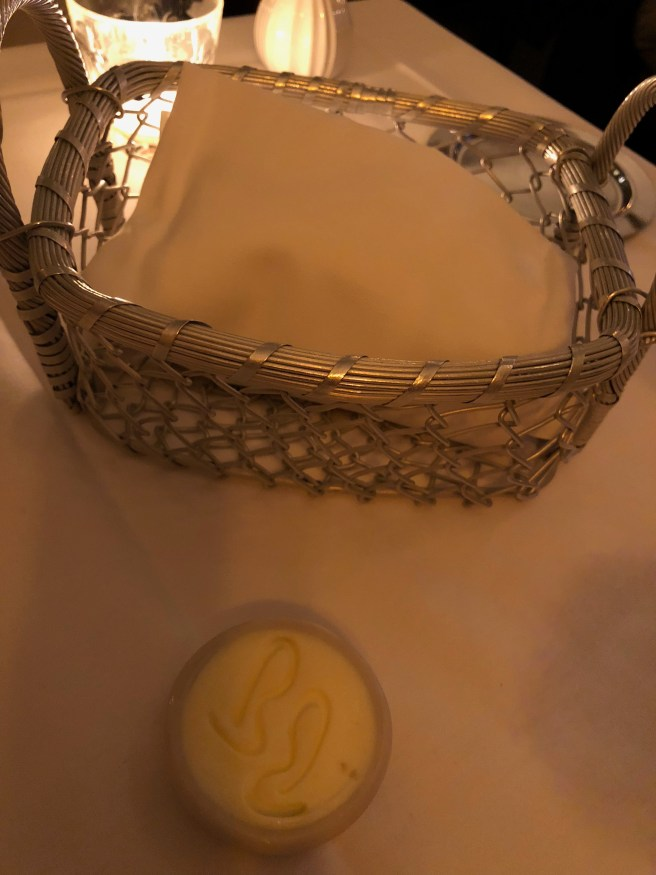 Bread basket and stampled butter