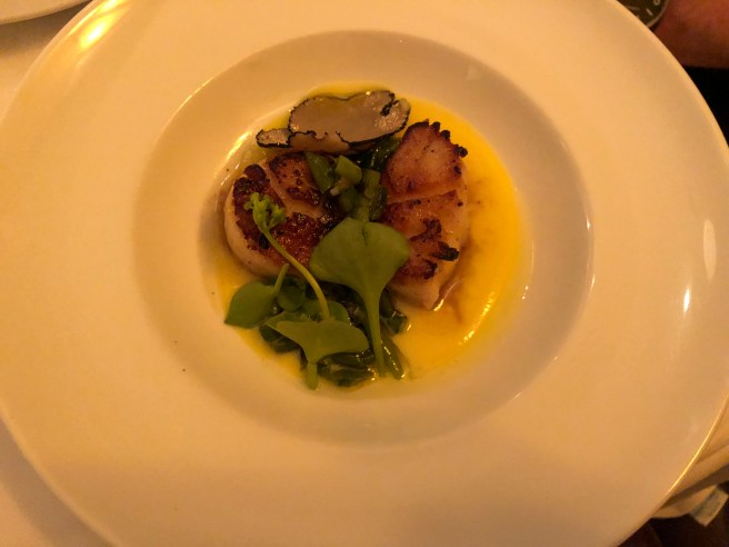 Seared scallops, grilled scapes, corn coulis, shaved summer truffle