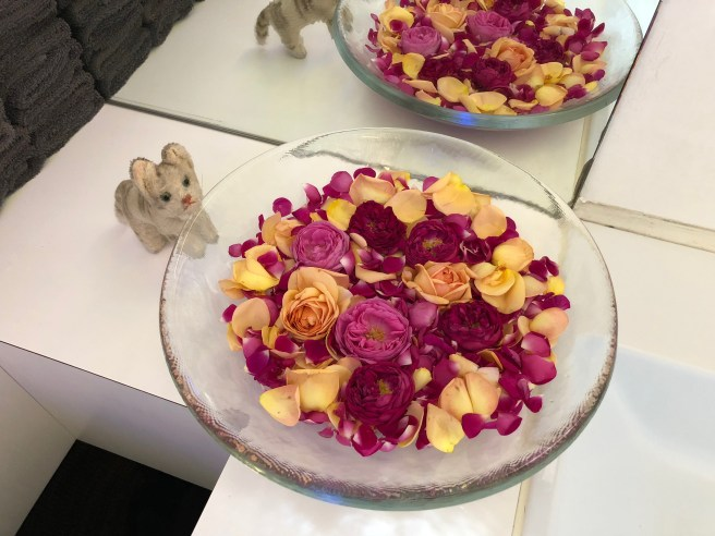 Frankie sniffed the bowl of flowers