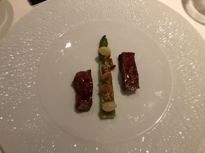 "Wagyu A5 ""Kagoshima prefecture': green asparagus, eggplant, radish and miso"