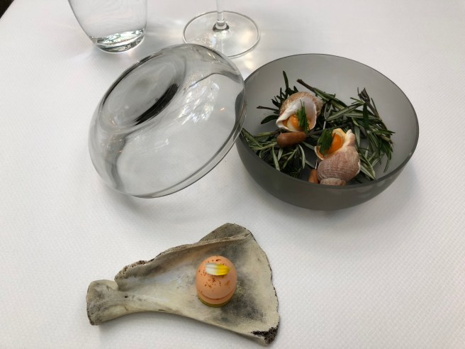 Welks with oyster leaf