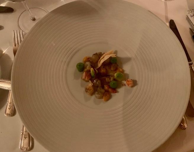 Breton King Prawn, quince, almond and quinoa