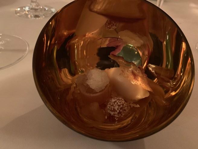 Autumn apple, sorbet, spices, almonds and cidre-granitee