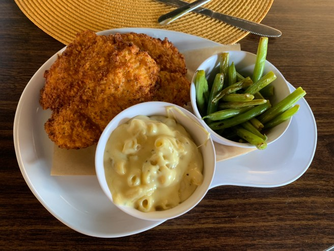 fried chicken, green beans, mac and cheese