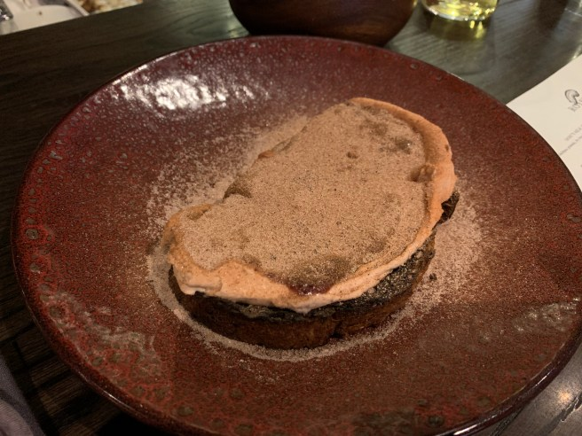 Cinnamon Toast with foie gras mousse, strawberry jam, black pepper