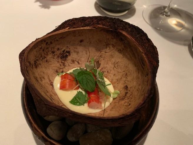 Carabineros Prawn, makrut lime, prawn bead caramel and vietnamese herbs