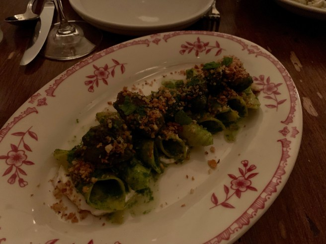Garganelli with braised lamb, mint, yogurt, green chili and rye breadcrumb