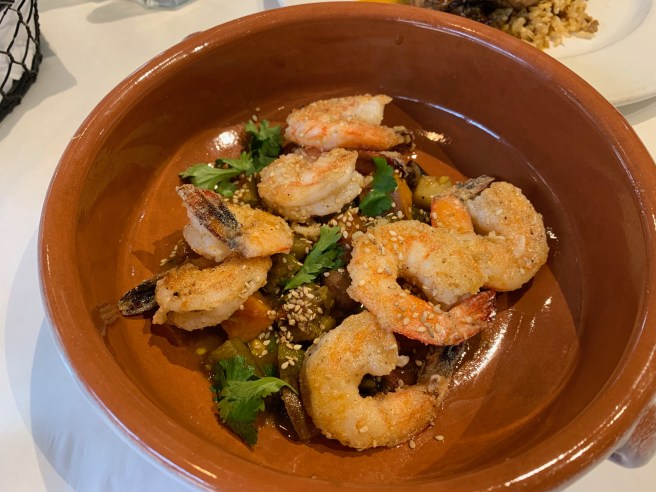 Rice crusted jumbo shrimp, boiled peanut stew