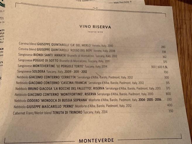 Reserve wine list