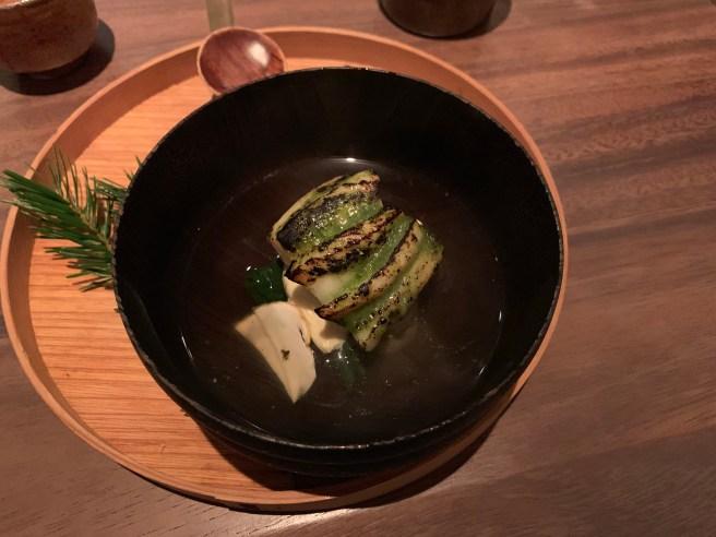 Black Cod, Yuba, Matsutake mushroom, herb dashi and Bloomsdale spinach