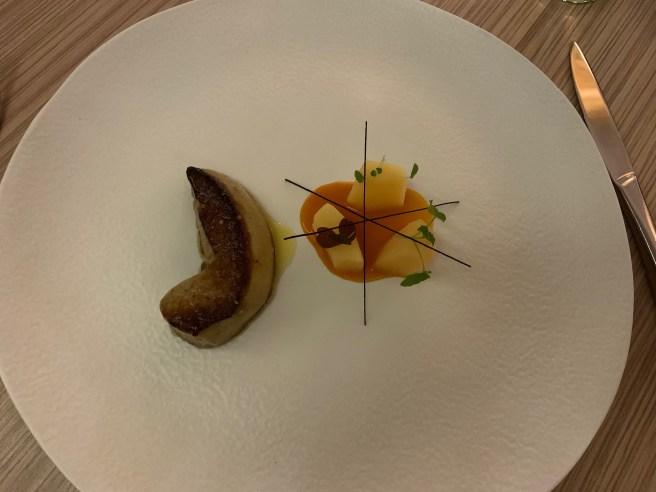 Warm Foie Gras, Tonka Bean Notes, Vanilla Quinces, Carrot Juice