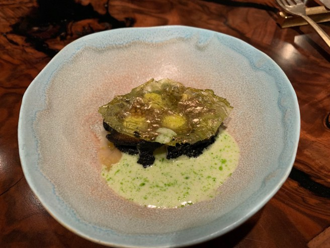 Abalone, cabbage and smoked creme