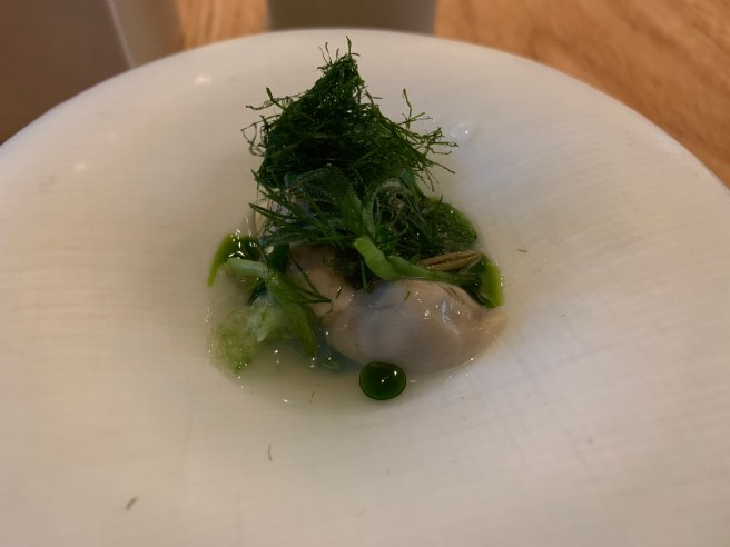 Succulents, Shigoku oyster, seaweed, vinegar and dill