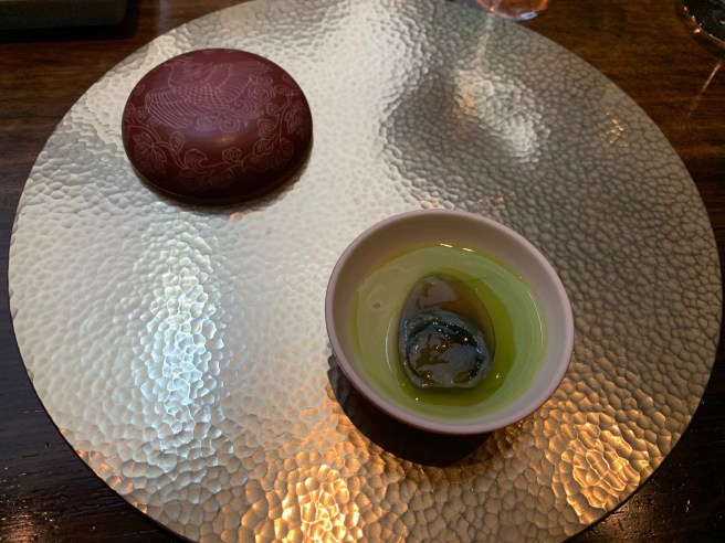 1000 year old quail egg, potage and preserved ginger