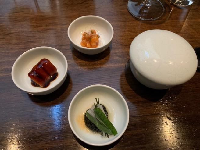 caviar with hand pressed sesame oil, sesame leaf and daikon
