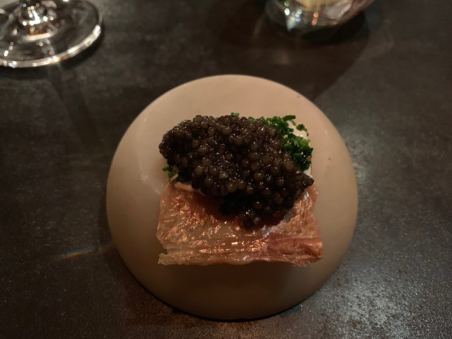 chicken skin with sourcream and caviar