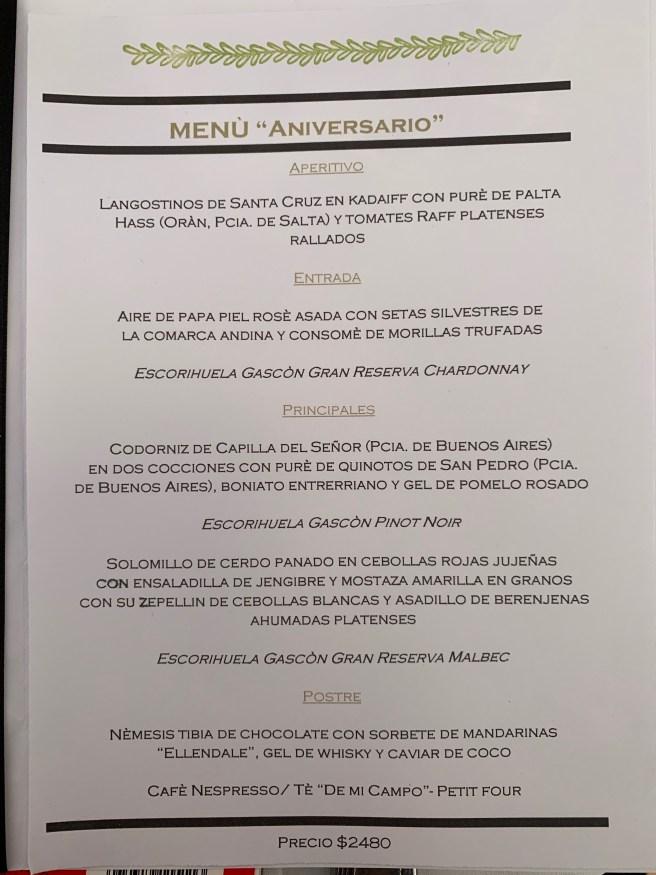 anniversary menu