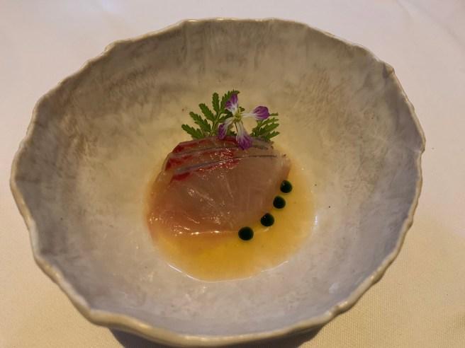 Hiramasa, persimmon vinegar, shiso, satsuma