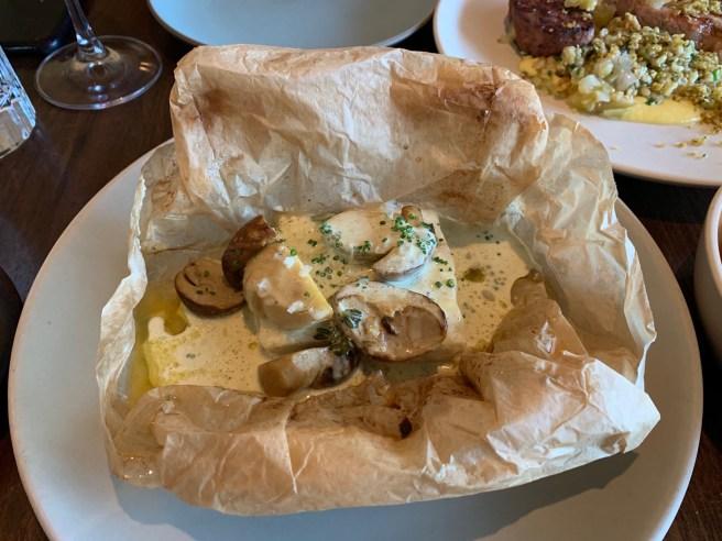 Halibut en Papillote, porcini mushrooms and lemon verbena butter