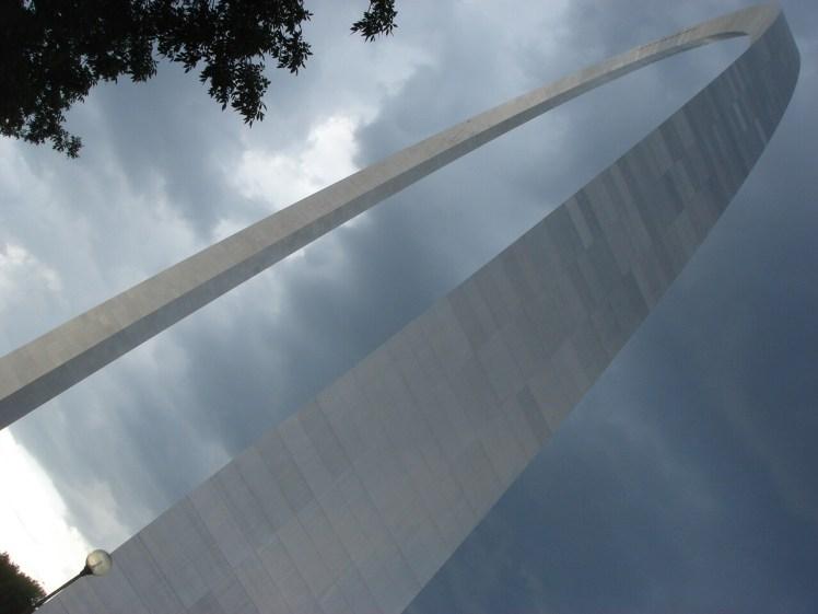 Gateway Arch against the dark skies