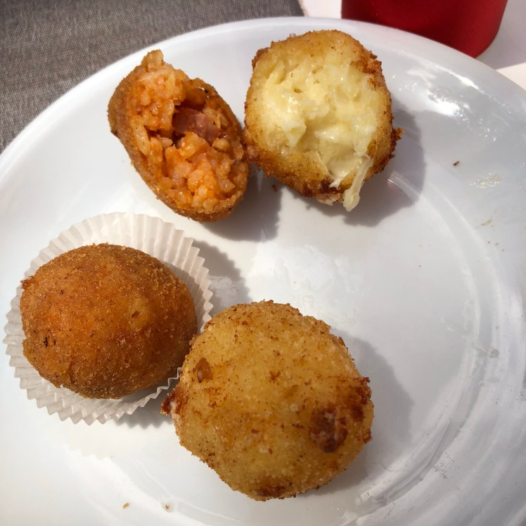 Tasting of Sicilian arancini at Dolce Vita in Messina