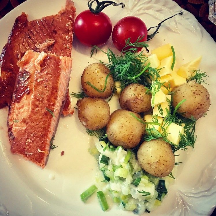New potatoes and smoked salmon never fails