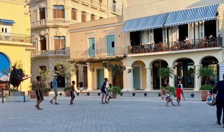 Playing football in Havana