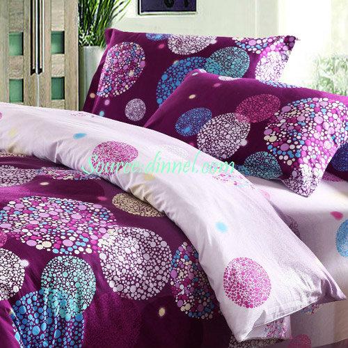 100 Cotton Luxurious Purple Polka Dot Collection 4piece