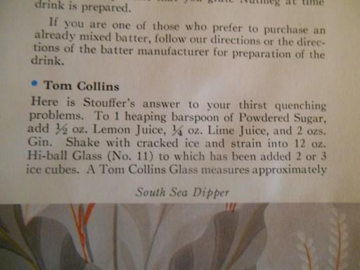 Tom Collins Recipe--Stouffer's