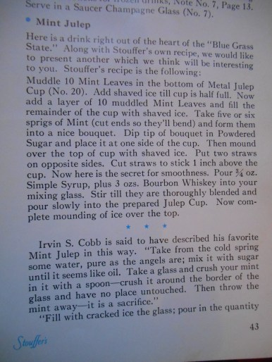 Stouffer's Mint Julep Recipe
